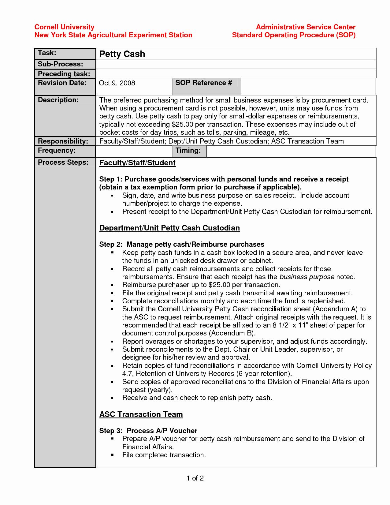 Procedure Manual Template Word Portablegasgrillweber