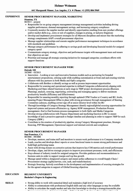 Procurement Resumes Examples Procurement Manager Job