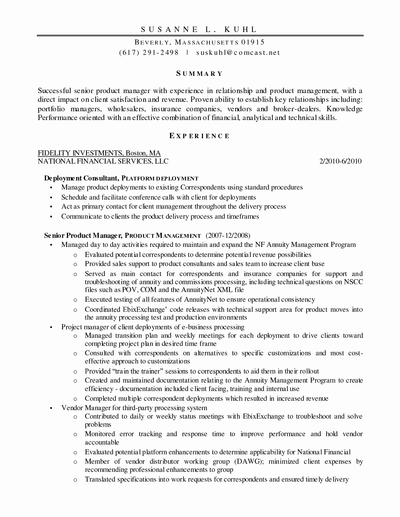 Product Management Resume
