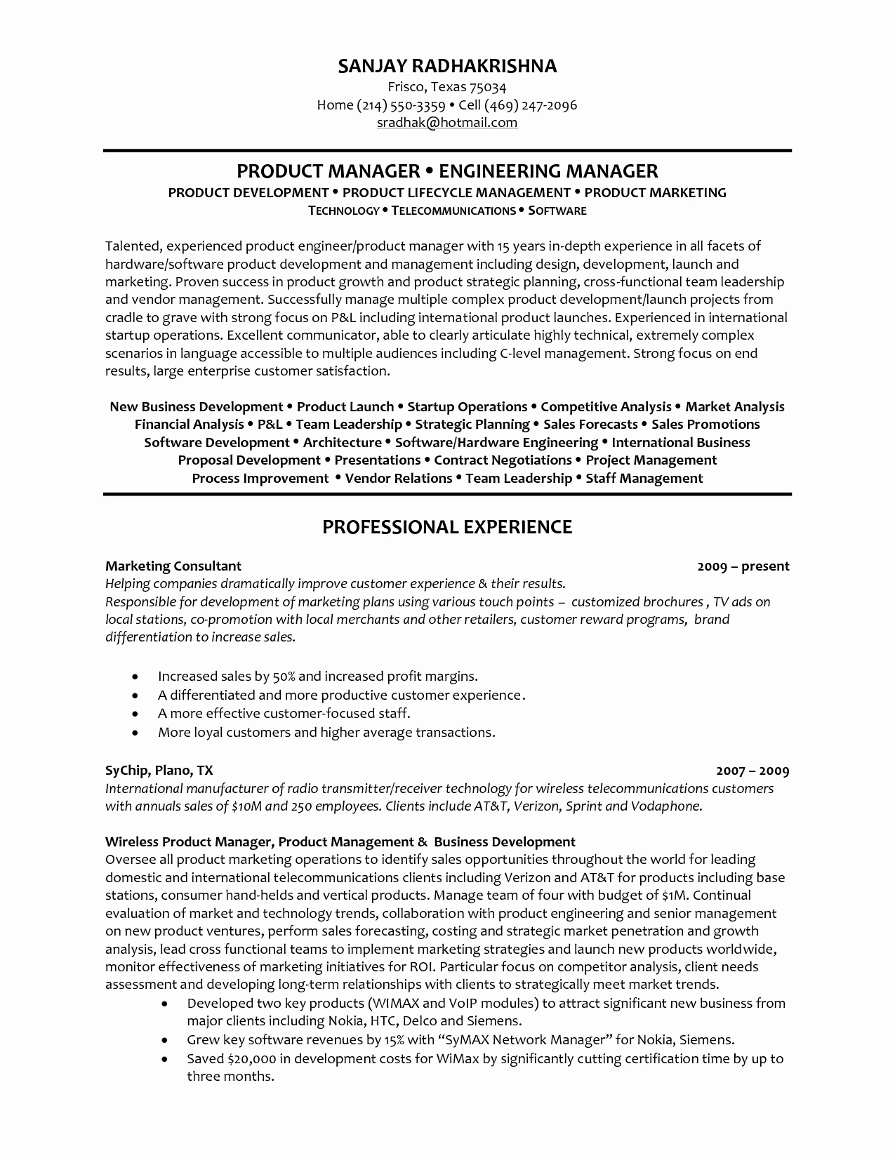 Product Manager Resume Objective Project Skills for