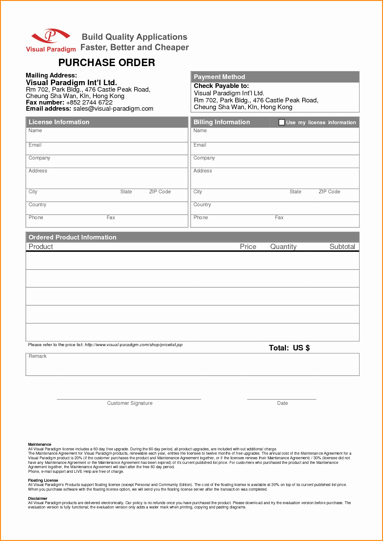 Product order form Template Free Portablegasgrillweber