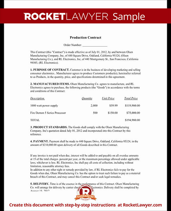 Production Agreement Production Contract Template with