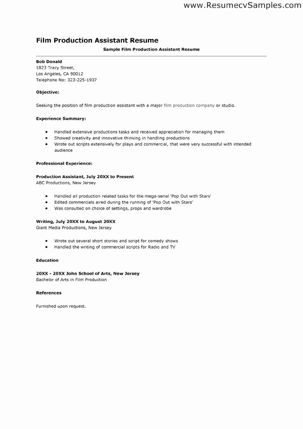 Production assistant Resume Sample