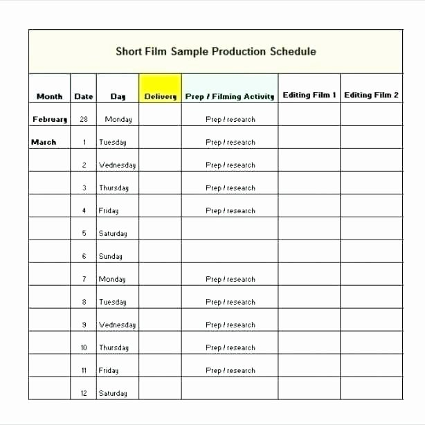 Production Calendar Template Excel Schedule Full Size