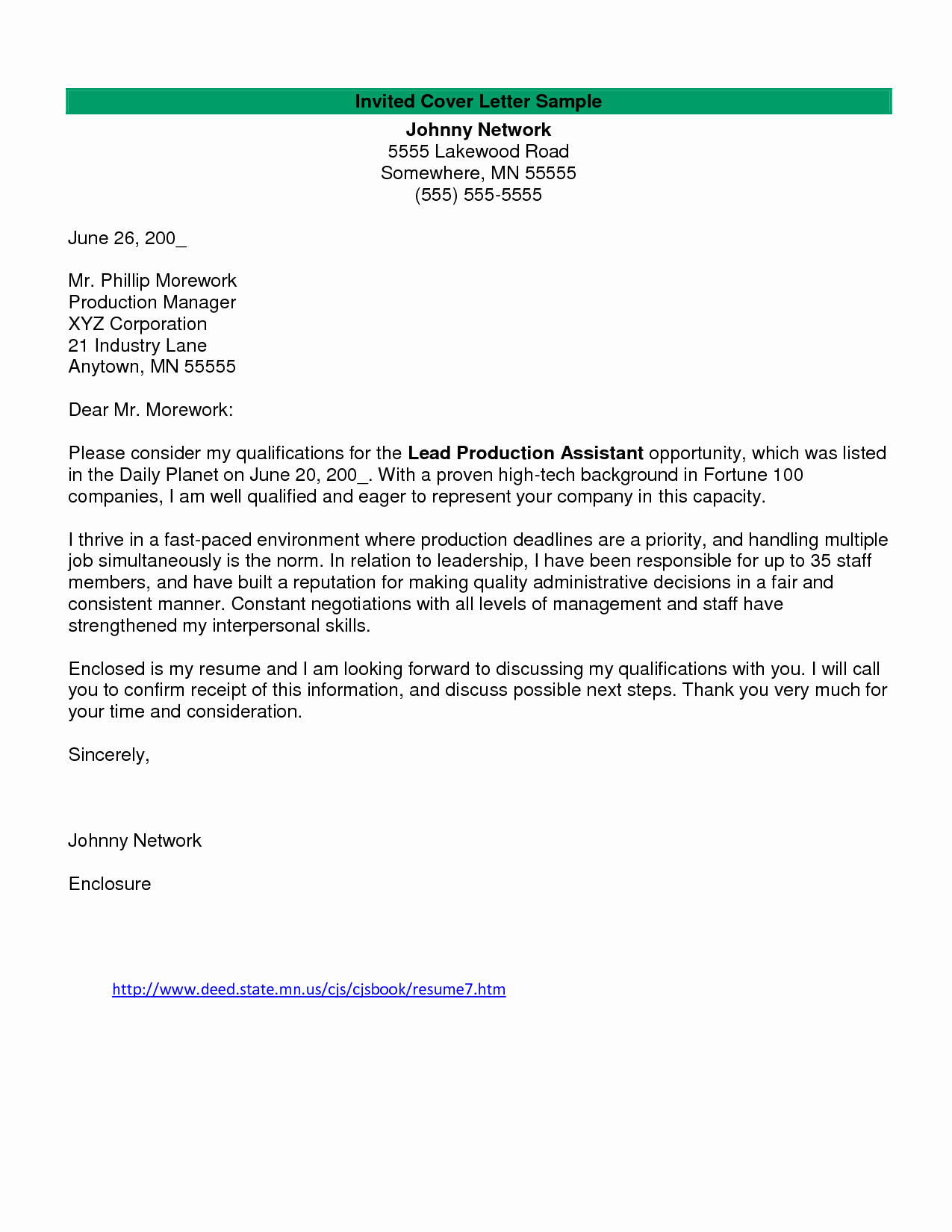 film production cover letter examples