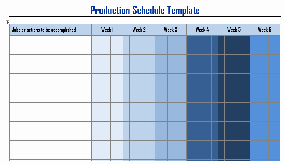 Production Schedule Templates In Word format