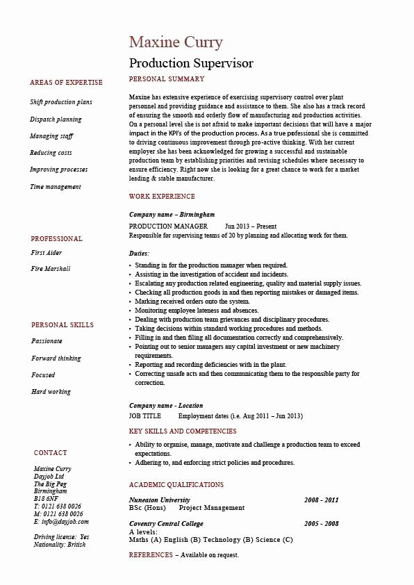 Production Supervisor Resume Sample Example Template