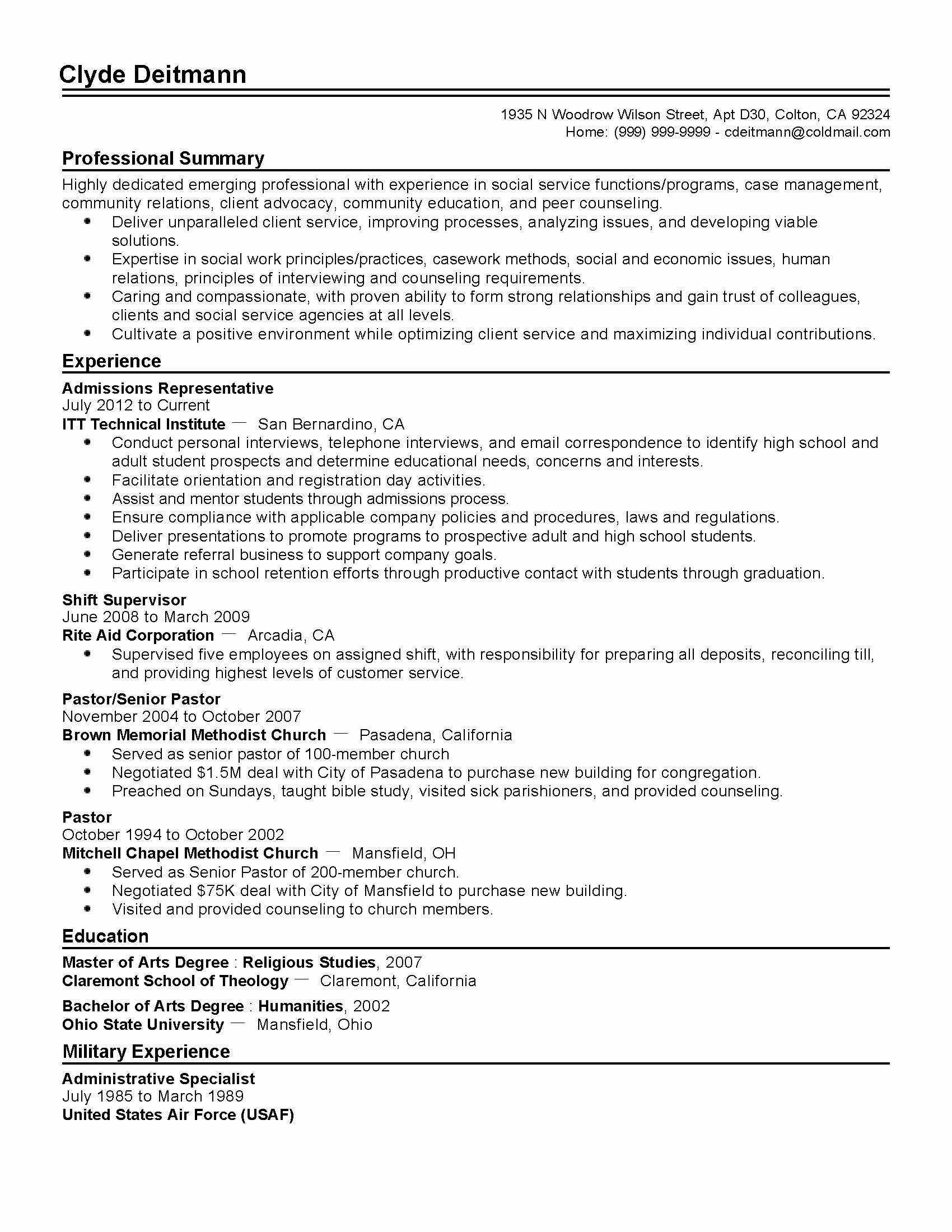 Professional Admissions Representative Templates to