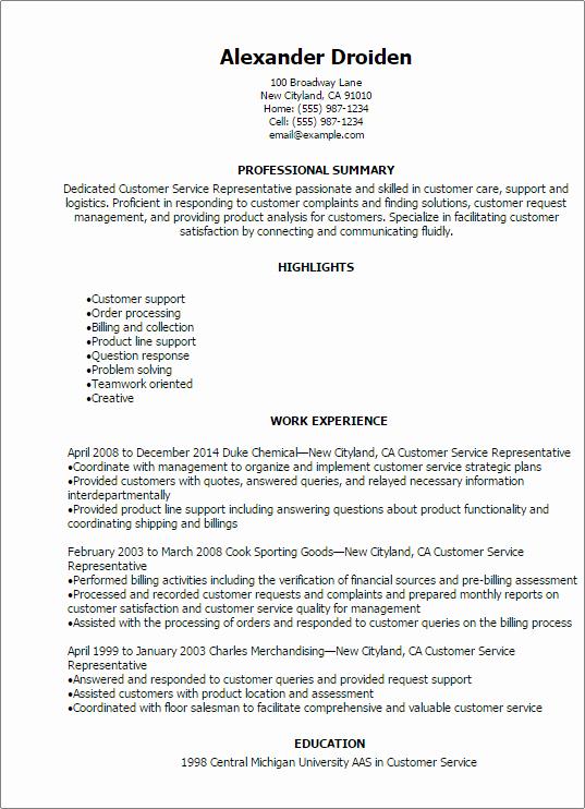 Professional Customer Service Representative Resume