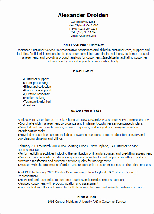 Professional Customer Service Representative Resume