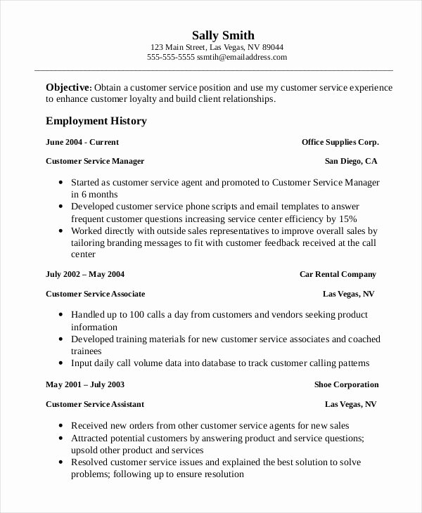 Professional Customer Service Resume