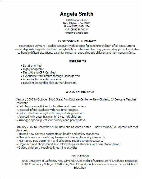 Professional Daycare Teacher assistant Templates to