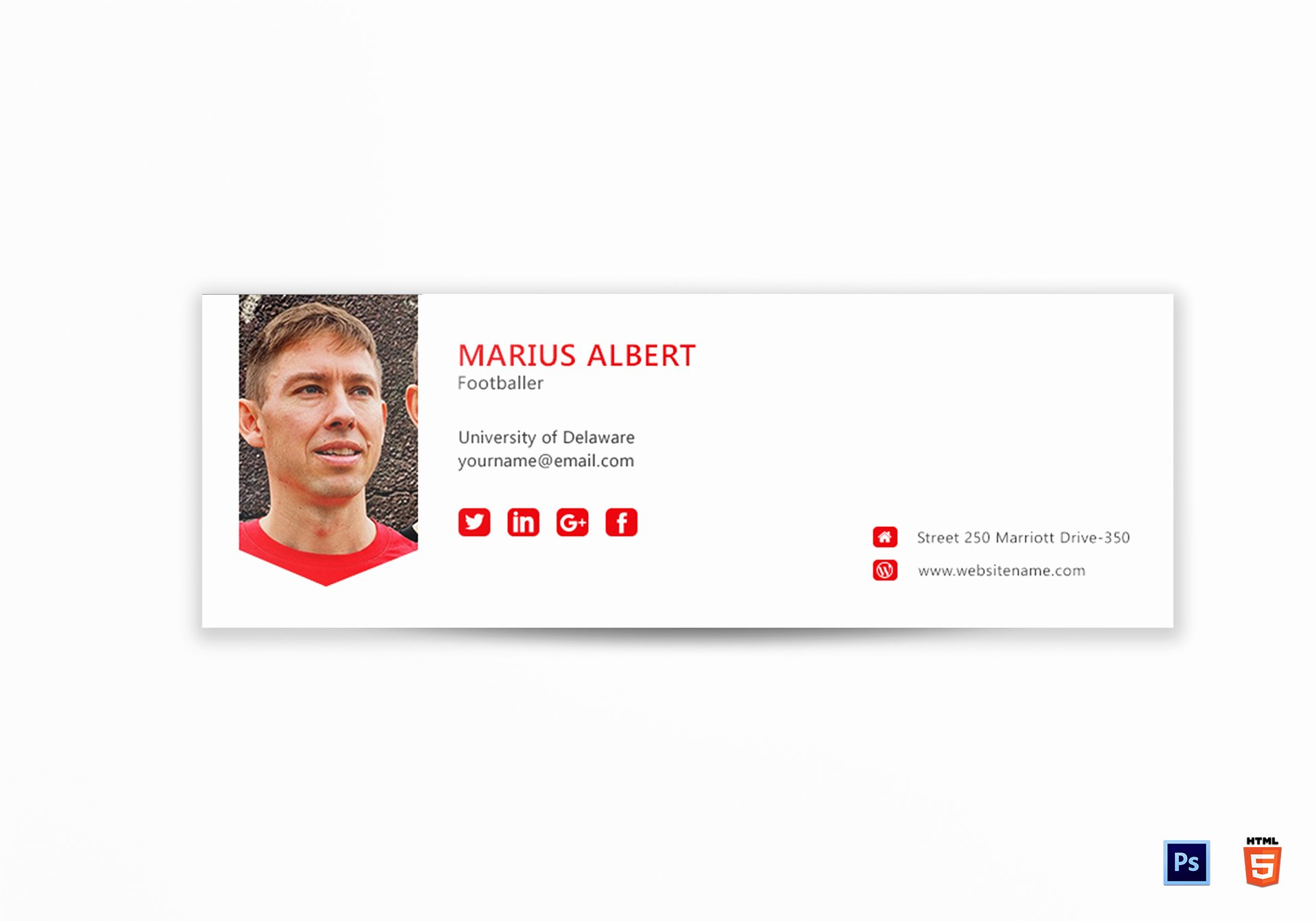 Professional Email Signature Design Template In Psd HTML