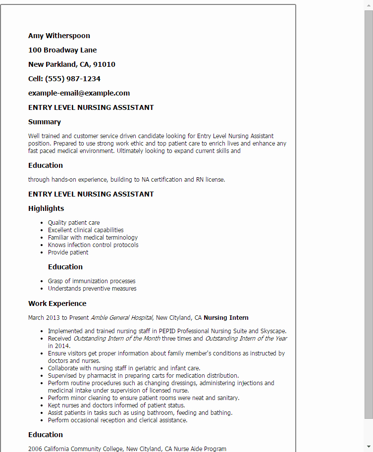 Professional Entry Level Nursing assistant Templates to