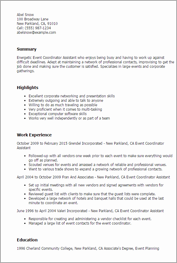 Professional event Coordinator assistant Templates to