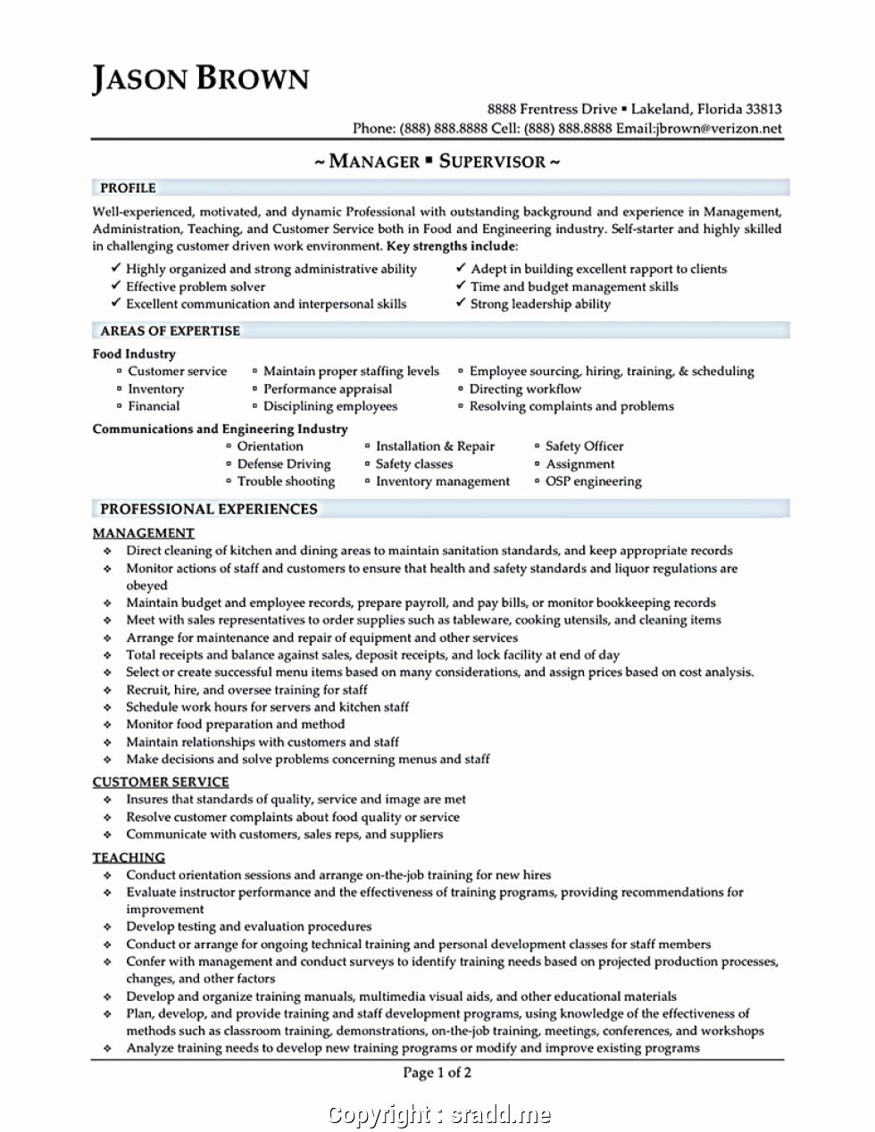 Professional Fast Food Restaurant Manager Resume
