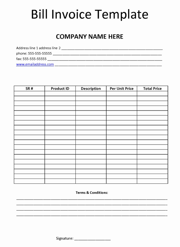 Professional Grade Free Invoice Templates for Ms Word Bill