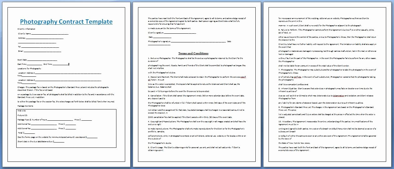 Professional Graphy Contract Template Free