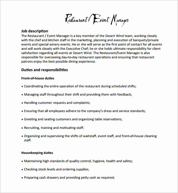 Professional Job Description Template Templates Data