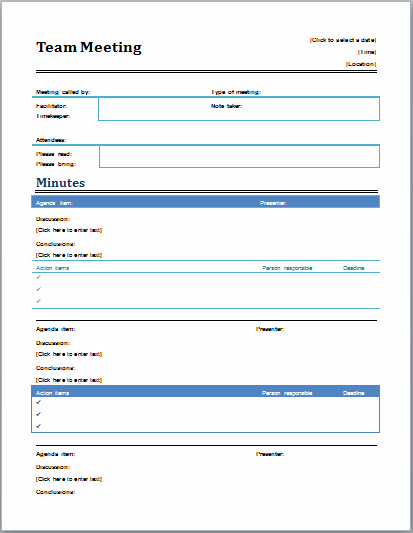 Professional Meeting Minutes Template