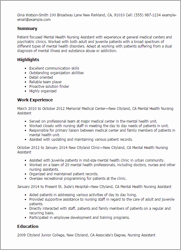 Professional Mental Health Nursing assistant Templates to