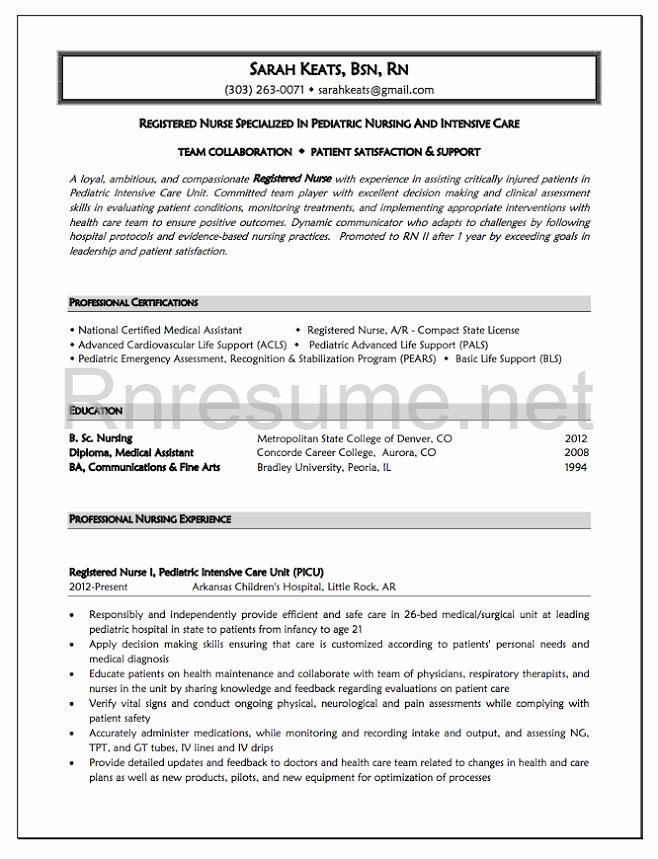 Professional New Grad Rn Resume Sample