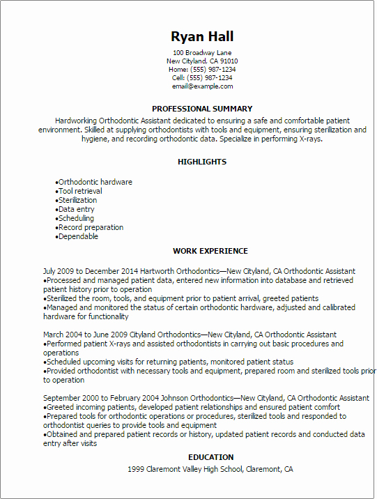 Professional orthodontic assistant Resume Templates to