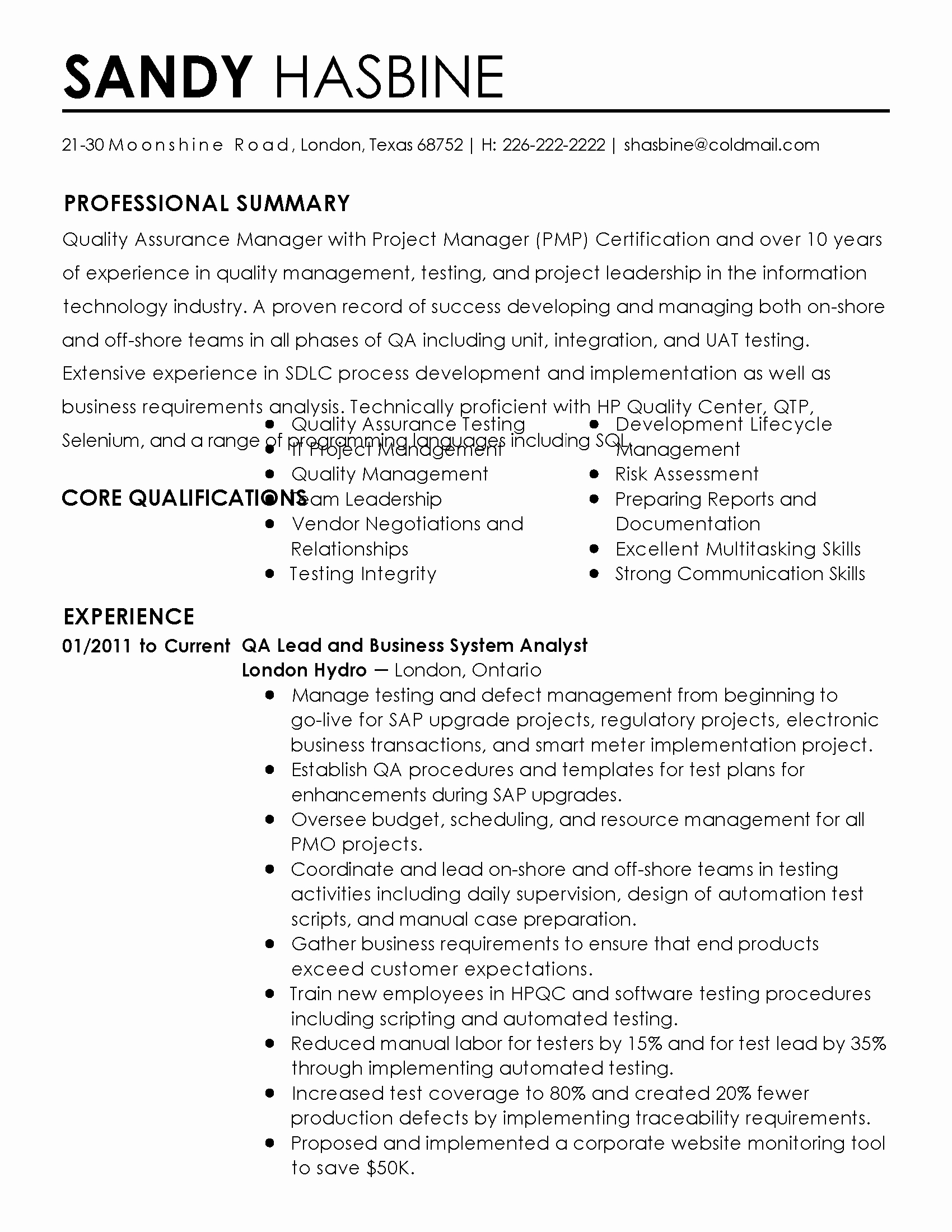 Professional Quality assurance Manager Templates to