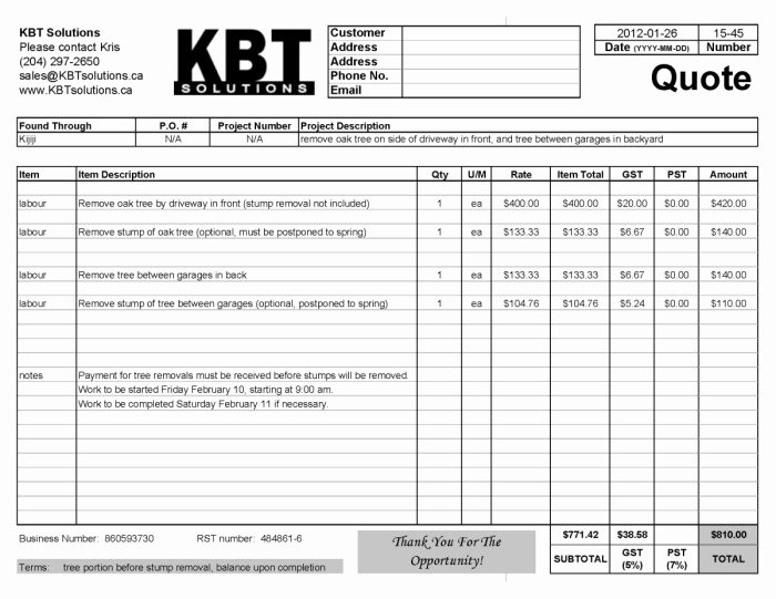 Professional Quotes Receipts Example Tree Removal