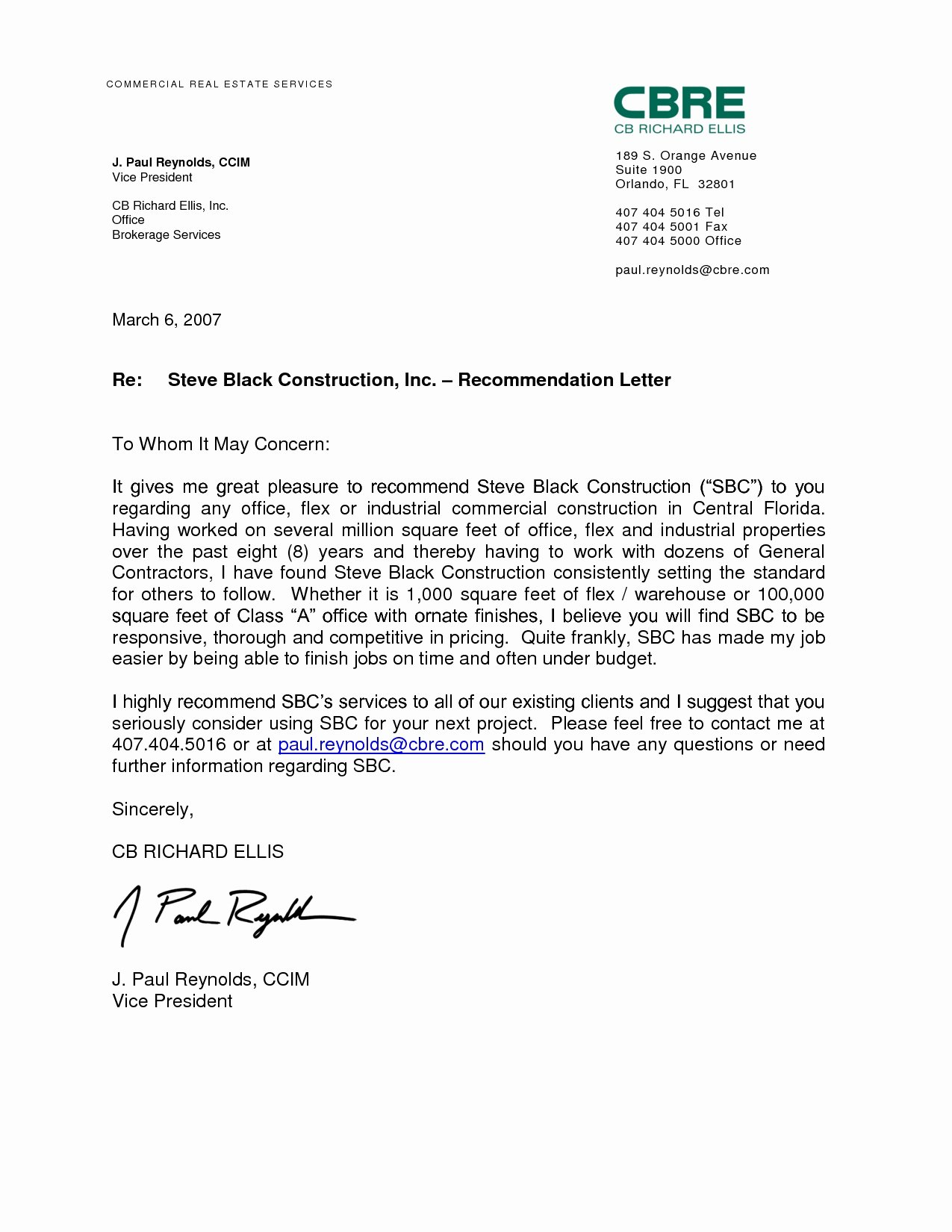 Professional Re Mendation Letter Examples