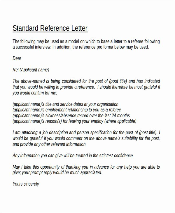 Professional Reference Letter Template Uk