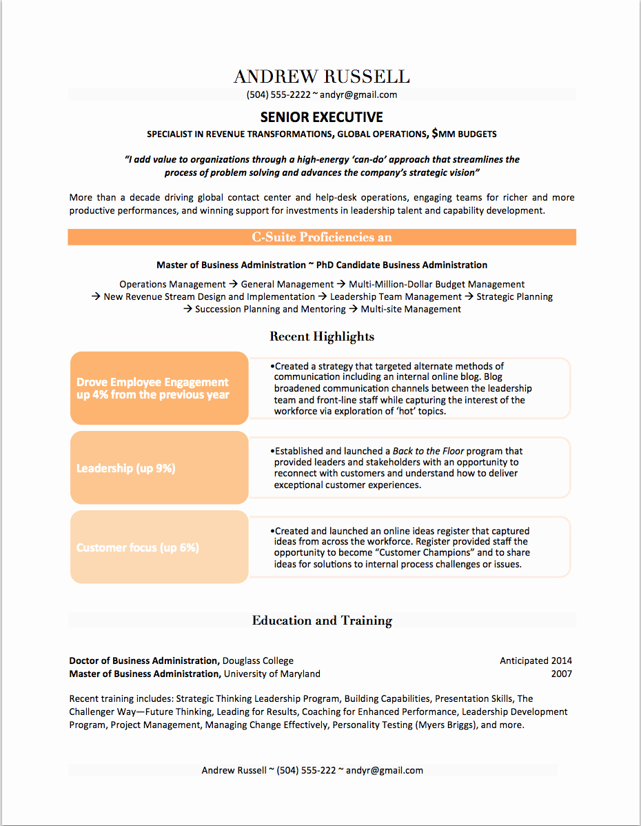 Professional Resume Examples by Gayle Howard top Margin