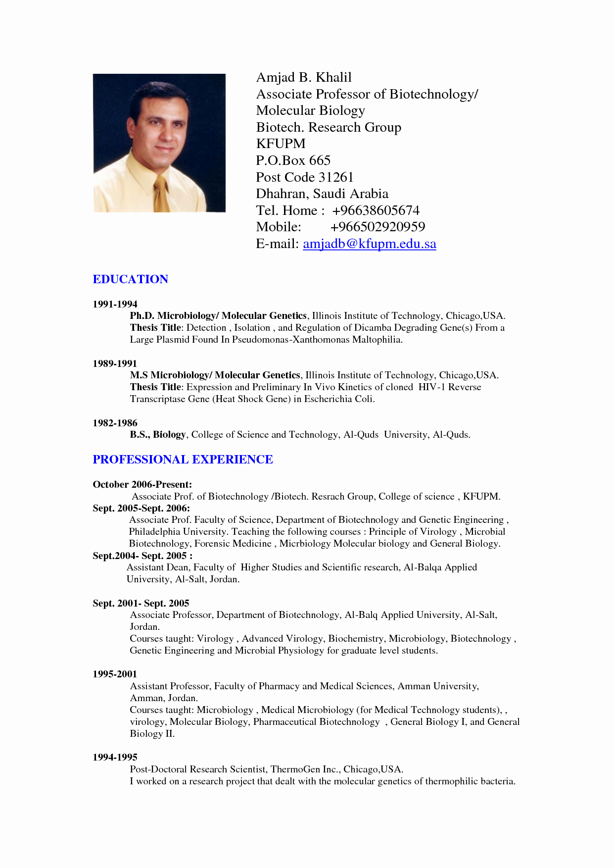 Professional Resume format Doc