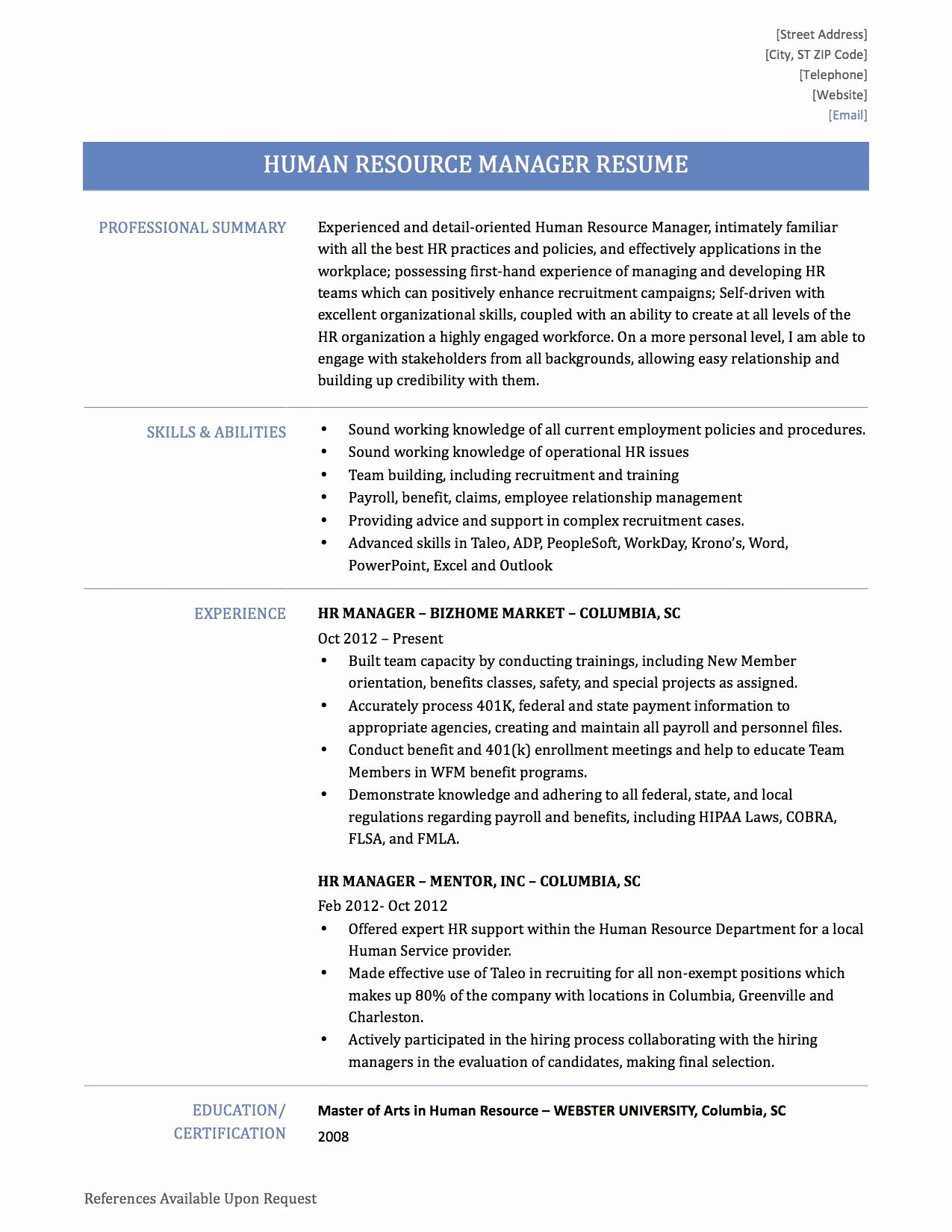 professional resume human resources manager