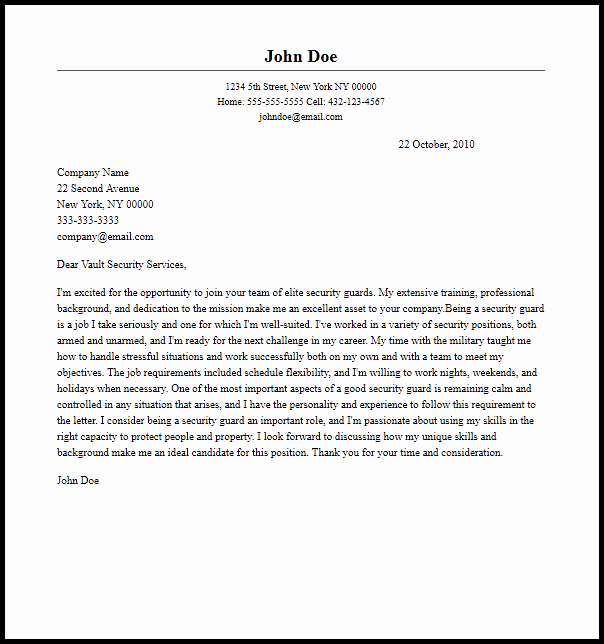 Professional Security Guard Cover Letter Sample & Writing
