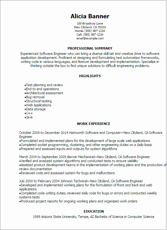 Professional software Engineer Resume Templates to