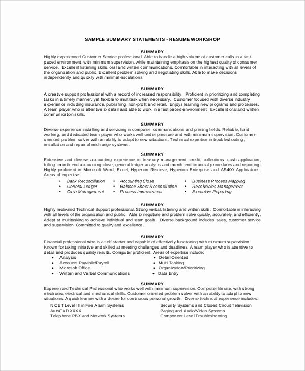 Professional Summary Examples F Resume