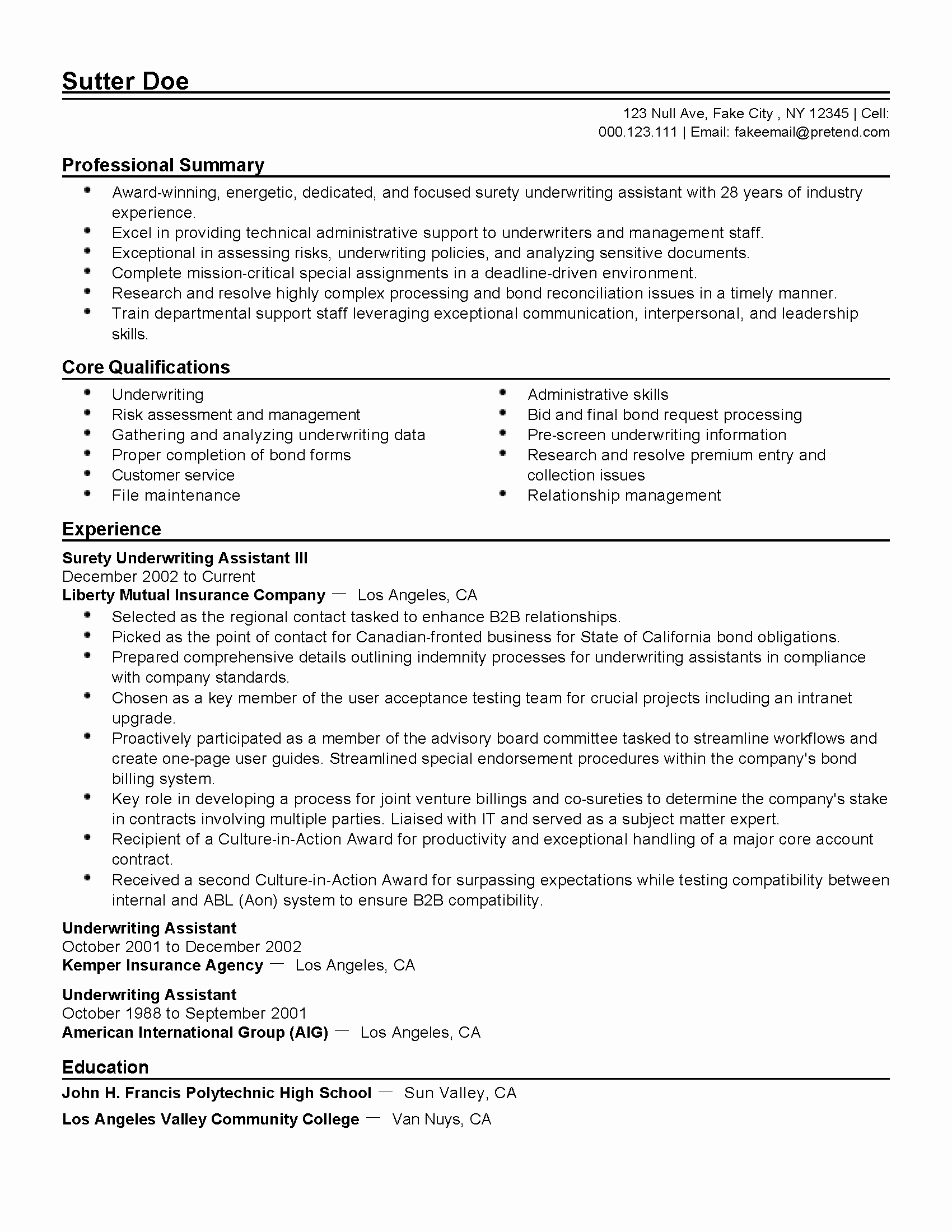 Professional Surety Underwriting assistant Iii Templates