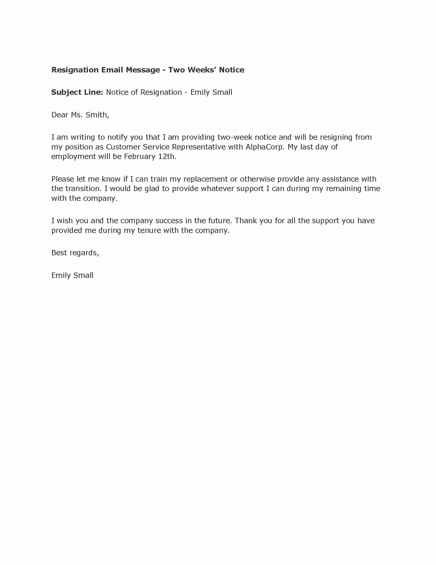 Professional Two Weeks Notice Letter Templates