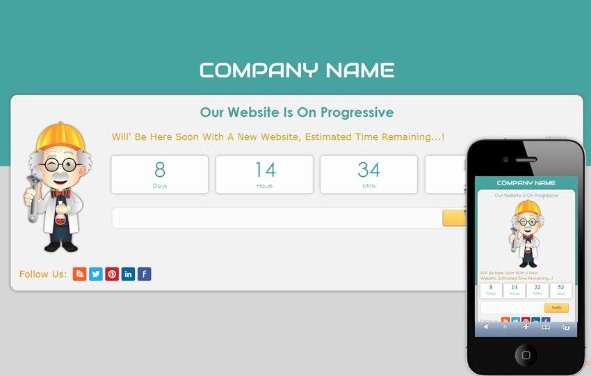 Professory Under Construction Mobile Website Template