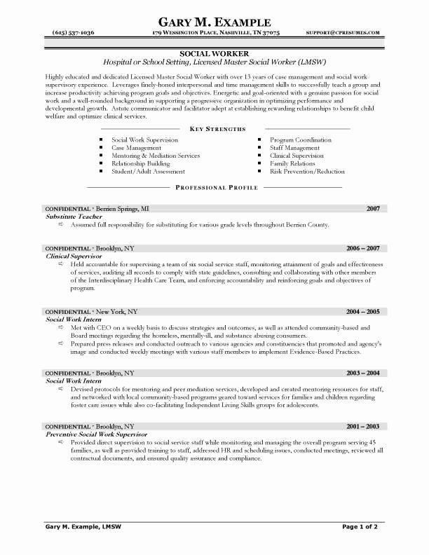 Profile for social Work Resume – Job Resume Example