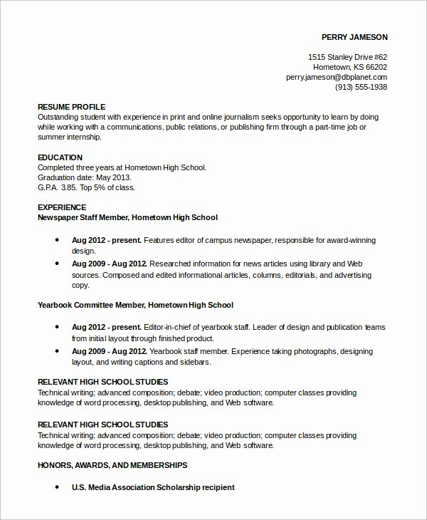 profile resume examples