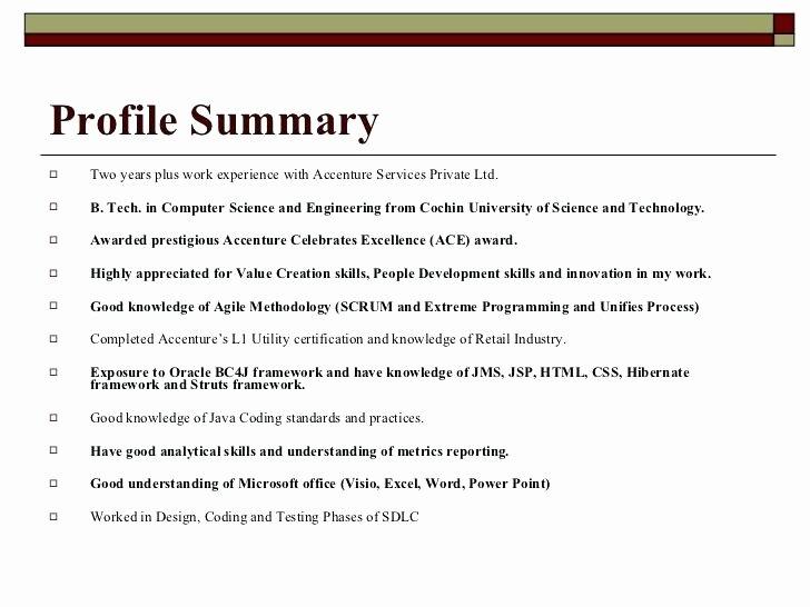 Profile Summary Resume