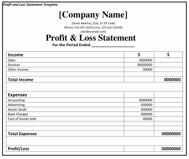 Profit and Loss Template Printable Profit and Loss