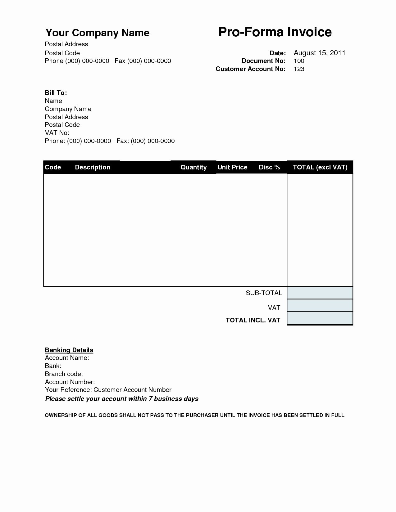 Proforma Invoice Template Download Free Invoice Template