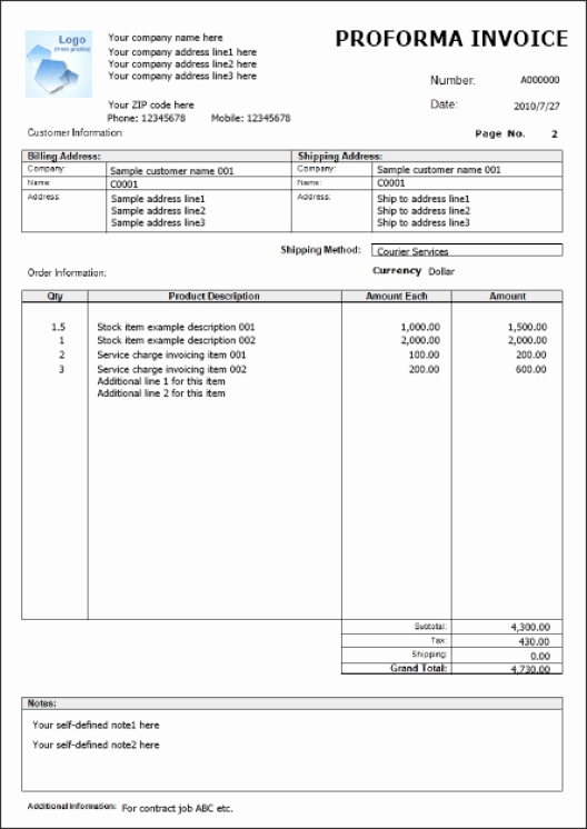 Proforma Invoice Templates Find Word Templates
