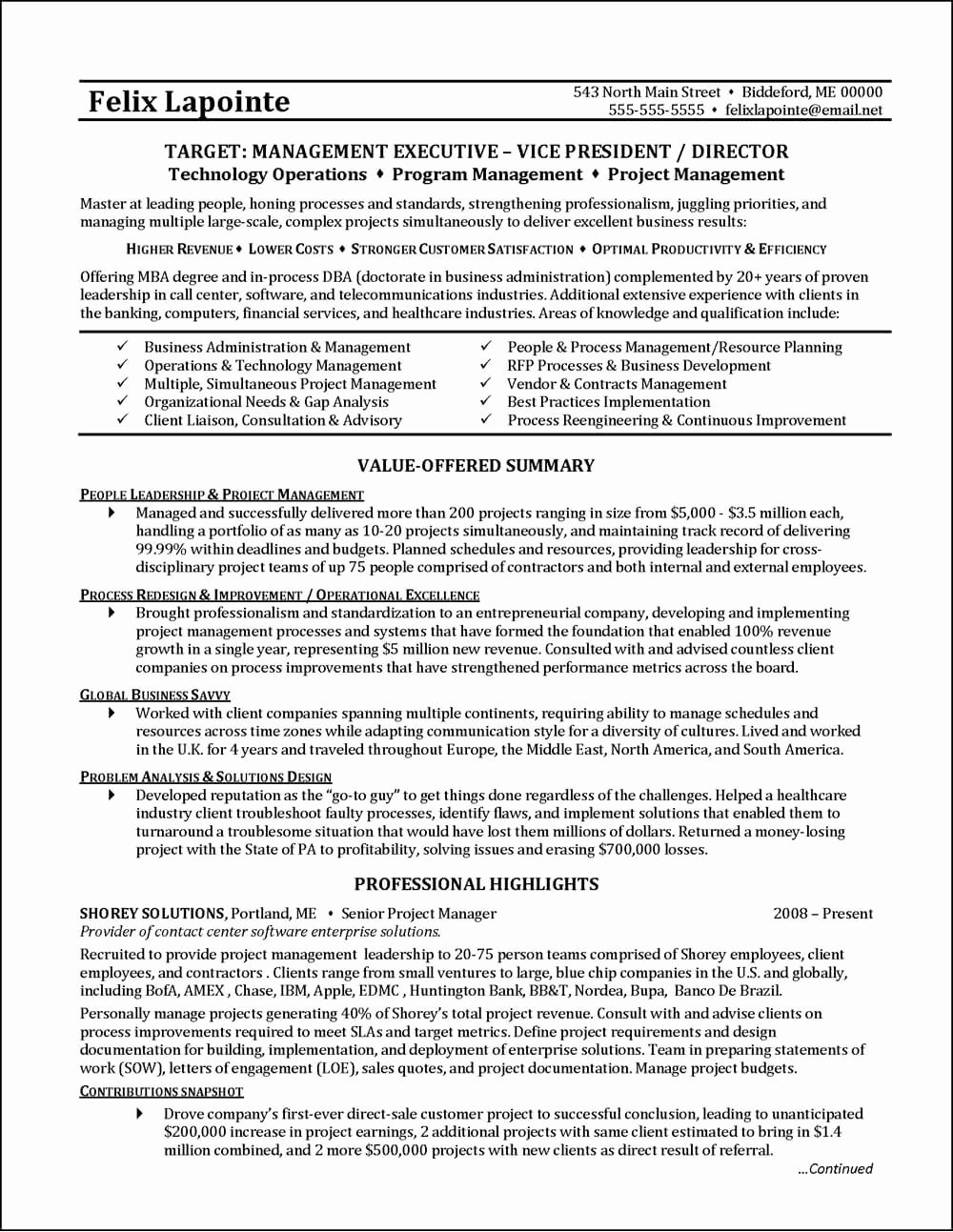Program Manager Resume Example