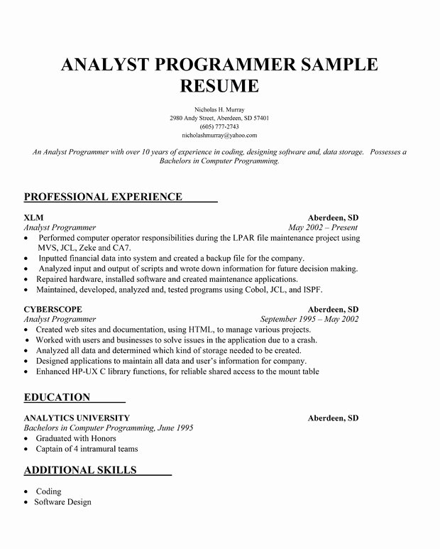 Programmer Resume Examples Cover Letter Samples Cover
