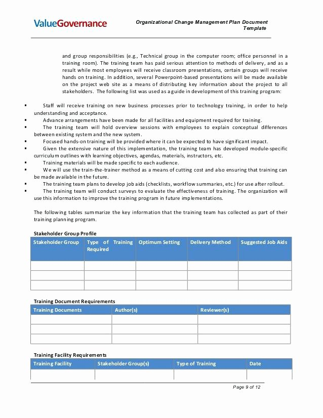 Project Change Management Plan Template 8 organizational