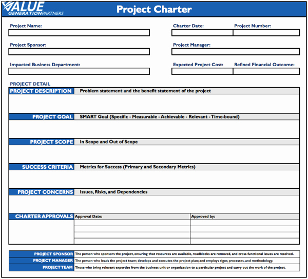 Project Charter Powerpoint Template Bountrfo